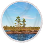 Island In The Form Of A Smooth Rock With Several Pines Round Beach Towel
