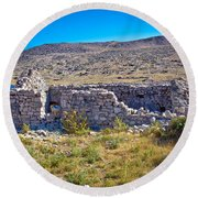 Island Of Krk Old Stone Ruins Round Beach Towel