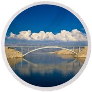 Island Of Pag Bridge And Velebit Mountain Round Beach Towel