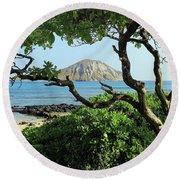 Island Through The Trees Round Beach Towel