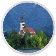 Island With Church On Bled Lake, Slovenia Round Beach Towel