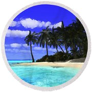 Island With Palm Trees Round Beach Towel