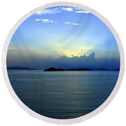 Islands In The Sunrise Tropical Paradise Round Beach Towel