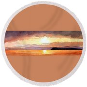 Islay And Cara From Kintyre Scotland Round Beach Towel