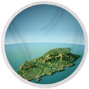Isle Of Man 3d View South-north Natural Color Round Beach Towel