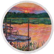 Isle Of Palms Sunset Round Beach Towel