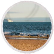 Isle Of Wight As Seen From Bournemouth Beach Round Beach Towel