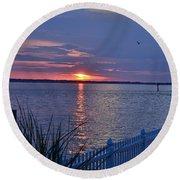 Isle Of Wight Bay Sunset Round Beach Towel