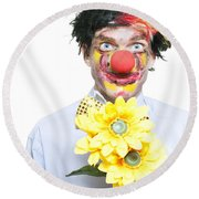 Isolated Clown In A Funny Summer Romance Round Beach Towel