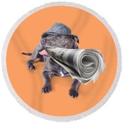 Isolated Newspaper Dog Carrying Latest News Round Beach Towel