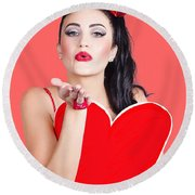 Isolated Pin Up Woman Holding A Heart Shaped Sign Round Beach Towel