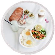 Israeli Breakfast Round Beach Towel