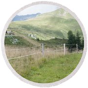 Isskogel Mountain Peak  Round Beach Towel