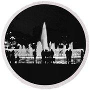 Istanbul Fountain Lights Round Beach Towel