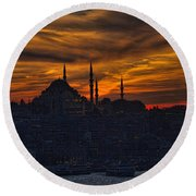 Istanbul Sunset - A Call To Prayer Round Beach Towel by David Smith