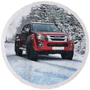 Isuzu In The Snow Round Beach Towel