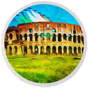 Italian Aerobatics Team Over The Colosseum Round Beach Towel