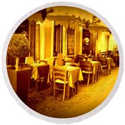 Italian Cafe In Golden Sepia Round Beach Towel