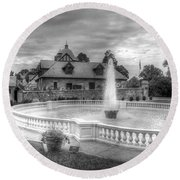 Italian Fountain Maymont B And W Round Beach Towel