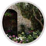 Italian Front Door Adorned With Flowers Round Beach Towel