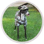 Italian Greyhound Army Round Beach Towel