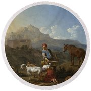Italian Landscape With Girl Milking A Goat Round Beach Towel