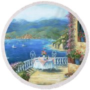 Italian Lunch On The Terrace Round Beach Towel by Marilyn Dunlap