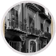 Italian Street In Black And White Round Beach Towel by Stefano Senise