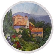 Italian Village Round Beach Towel
