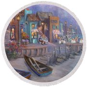 Italy Tuscan Decor Painting Seascape Village By The Sea Round Beach Towel