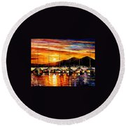 Italy - Naples Harbor- Vesuvius Round Beach Towel