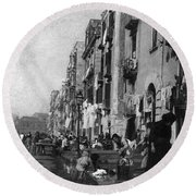 Italy: Naples, C1904 Round Beach Towel