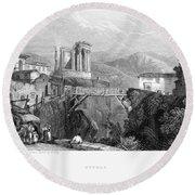 Italy: Tivoli, 1832 Round Beach Towel