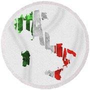 Italy Typographic Map Flag Round Beach Towel