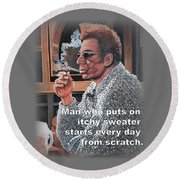 Itchy Sweater Round Beach Towel