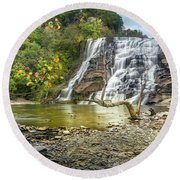 Ithaca Falls In Early Autumn Round Beach Towel
