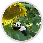 It's A Big Sunflower Round Beach Towel