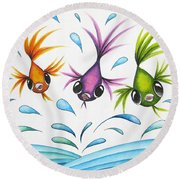 It's A Fun World Out There Round Beach Towel