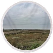 It's A Grey Day In North Norfolk Today Round Beach Towel