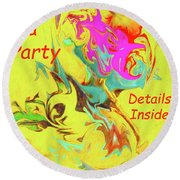 It's A Party Abstract Round Beach Towel