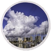 It's All About The Clouds Round Beach Towel