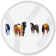 It's All About The Horses Round Beach Towel