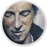 It's Boss Time II - Bruce Springsteen Portrait Round Beach Towel