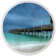 It's Getting Stormy At The Pier Round Beach Towel
