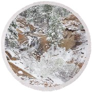 It's Mid May. We're Fast Approaching The End Of Our Snow Season.  Round Beach Towel