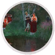 Ivan Kupala. Fortunetelling For Wreaths. Round Beach Towel