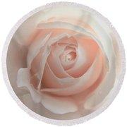 Ivory Peach Pastel Rose Flower Round Beach Towel