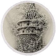 Ivy Covered Castle In The Woods Round Beach Towel