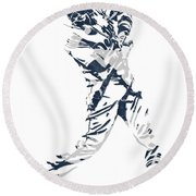 J D Martinez Detroit Tigers Pixel Art 3 Round Beach Towel