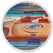 J F K And M M Round Beach Towel
